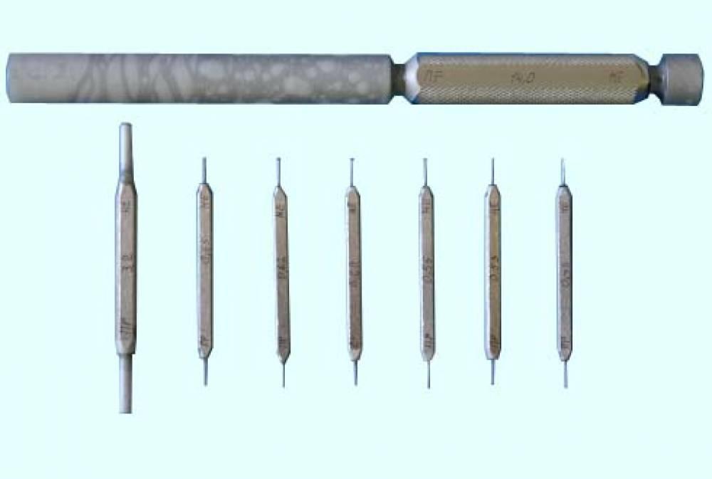 Калибры гладкие прецизионные КГПФ-0,45; 0,53; 0,56; 0,60; 0,62; 0,65; 3,2; 14,0 для форсунок дизеля Д100 (комплект № 11А, ПР+НЕ - 8+8 шт.)