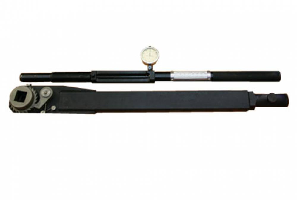 Ключ моментный индикаторный специальный с переходником, с храповым механизмом (с трещоткой) КМИС-П-1500 (диапазон измерения от 200 до 1500 Нм, присоединительный квадрат 25х25 мм и длиной рычага 1400-1500 мм)