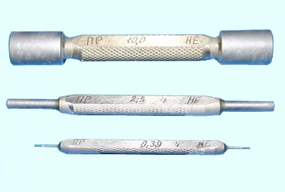 Калибры гладкие прецизионные КГПФ-0,39; 2,5; 10,0 для форсунок дизеля Д49 (комплект № 11В, ПР+НЕ - 3+3 шт.)
